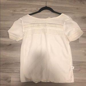 Loft xs white chiffon tee blouse